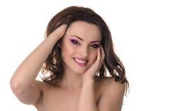 有桃红色构成的美丽的妇女 库存照片