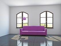 有桃红色沙发的客厅 免版税图库摄影