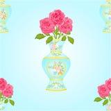 有桃红色玫瑰传染媒介的无缝的纹理花瓶 库存照片