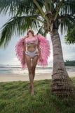 有桃红色翼的美丽的天使妇女 图库摄影
