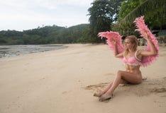 有桃红色翼的美丽的天使妇女 免版税库存图片