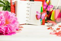 有桃红色花和五颜六色的固定式结束丝毫的红色组织者 免版税库存图片