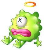 有桃红色嘴唇的一个死的绿色妖怪 免版税图库摄影