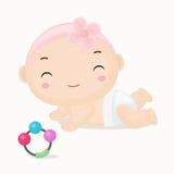 有桃红色头饰带动画片的逗人喜爱的动画片女婴 库存图片