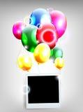 有框架照片的气球生日背景的 库存照片