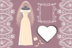 有框架的,标签,佩兹利婚姻的新娘礼服 免版税库存图片