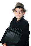 有案件的男孩 免版税库存照片