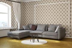 有桌和地毯的客厅 皇族释放例证