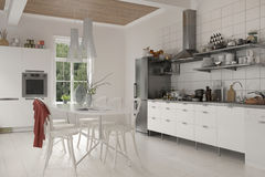 有桌和椅子的大土气厨房 库存例证