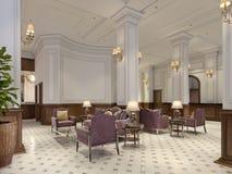 有桌和长沙发的经典等待的大厅 皇族释放例证