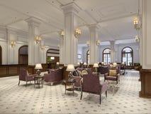 有桌和长沙发的经典等待的大厅 库存例证