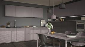 有桌的现代厨房和椅子、大窗口和herringbon 库存图片