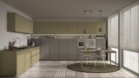 有桌的现代厨房和椅子、大窗口和herringbon 免版税库存照片