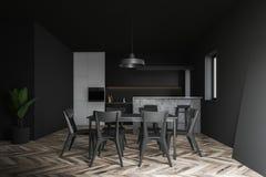 有桌的白色和灰色厨房 库存例证