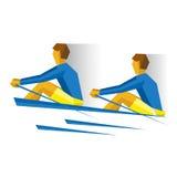 有桨的两个人在小船 划船竞争 皇族释放例证