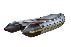 有桨的灰色充气救生艇,隔绝在白色backgroun 免版税图库摄影
