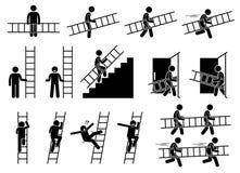 有梯子的人 向量例证