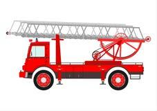 有梯子的消防车。 免版税图库摄影