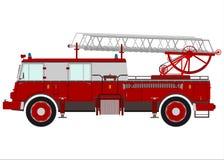 有梯子的消防车。 库存图片