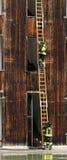 有梯子的消防队员在Fireho的一次练习期间 免版税库存照片