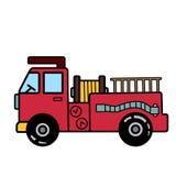 有梯子的简单的消防车在白色背景 图库摄影