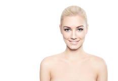 有棉花花的美丽的白肤金发的妇女 图库摄影