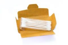 有棉花芽的纸板纸箱 库存图片