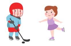 有棍子态度绷带的曲棍球运动员男孩在面孔冬季体育在盔甲设备和逗人喜爱俏丽的运动员制服 向量例证