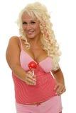 有棒棒糖的女性 免版税库存图片