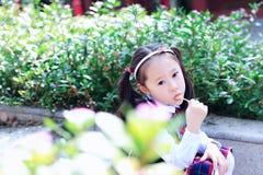 有棒棒糖逗人喜爱的亚洲矮小的美好的女孩戏剧的小女孩秋天在城市公园 免版税库存照片