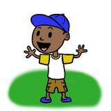有棒球帽的(黑色)小男孩 免版税库存图片