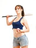 有棒球棒的女孩 免版税库存图片