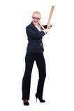 有棒球棒的女实业家 库存照片