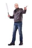 有棒球棒的猛烈人 免版税图库摄影