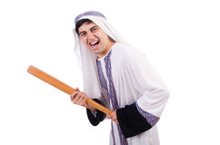 有棒球棒的积极的阿拉伯人 免版税库存图片