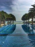 有棕榈树的不尽的游泳场 免版税库存图片