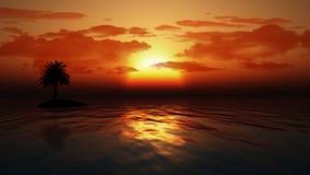 有棕榈树的日落海洋 库存例证