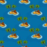 有棕榈树的海岛在海洋样式 库存例证