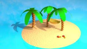 有棕榈的无人居住的海岛 皇族释放例证
