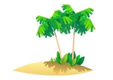 有棕榈的热带海岛,天堂的例证 免版税库存照片