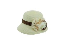 有棕色丝带的草帽 库存照片