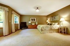 有棕色墙壁的宽敞温暖的卧室 免版税库存照片