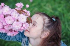 有棕色头发的女孩在蓝色牛仔布夹克获得乐趣在开花樱桃庭院在美好的春日 图库摄影