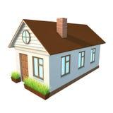 有棕色屋顶的白色房子 免版税库存照片