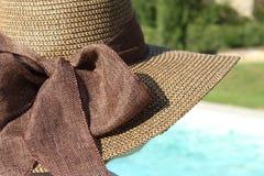 有棕色帽子的妇女在水池附近 库存图片