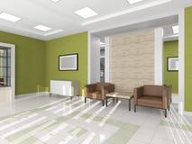 有棕色扶手椅子的内部走廊 免版税库存照片
