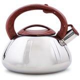 有棕色把柄的一个新的金属茶壶在白色背景 库存图片