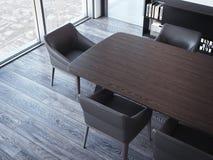 有棕色桌和椅子的现代会议室 3d翻译 免版税库存照片