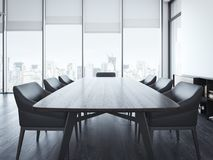 有棕色桌的现代办公室会议室 3d翻译 图库摄影
