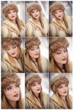 有棕色毛皮盖帽和夹克的可爱的妇女享受冬天的 摆在反对桥梁的时兴的白肤金发的女孩侧视图  库存照片
